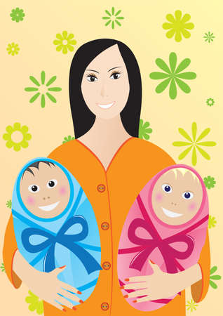 Mother with children Stock Vector - 5743510