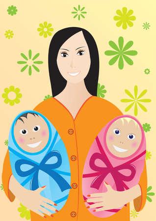 Mother with children Stock Vector - 5743510