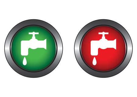 Buttons with water tap Vector