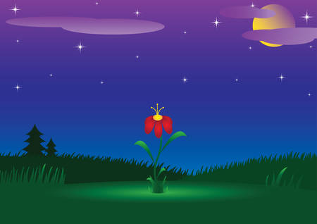Night landscape with a radiant flower Vector