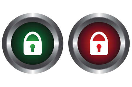 Two buttons with a lock Vector