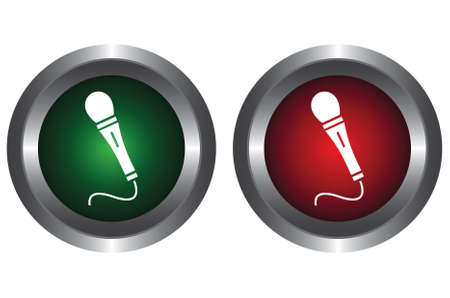 Two buttons with microphone Vector