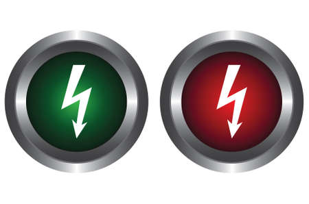 Two buttons with the sign of high voltage Vector