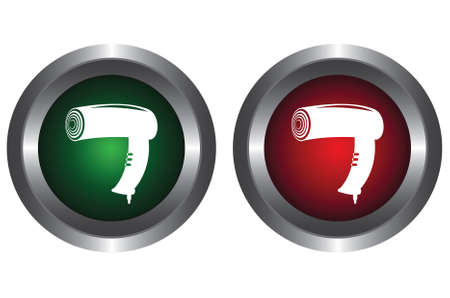 Two buttons with hairdryer Stock Vector - 6341223
