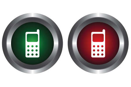 Two buttons with cell phone Stock Vector - 6341220