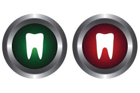 Two buttons with the symbol of the tooth Vector