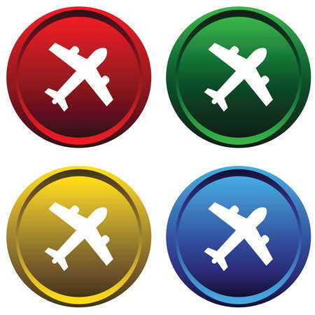 Plastic buttons with the plane Vector