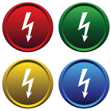 high voltage: Plastic buttons with the sign of high voltage