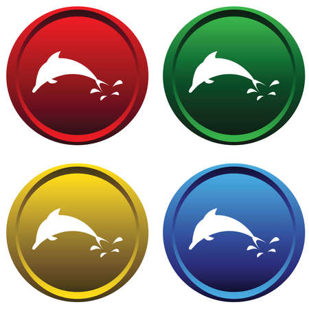 Plastic buttons with a dolphin Vector