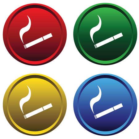 hocico: Botones de pl�stico con un cigarrillo  Vectores