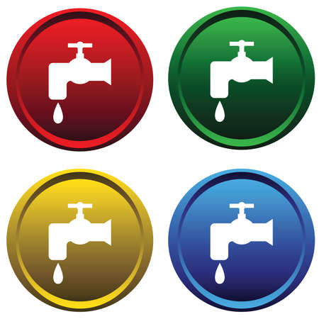 plumbers: Plastic buttons with water tap