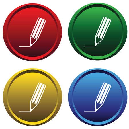 ball pens stationery: Botones de pl�stico con un l�piz