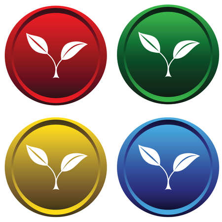 Plastic buttons with plants Vector