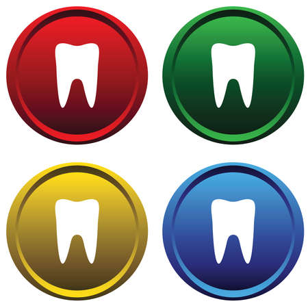 Plastic buttons with the symbol of the tooth Vector