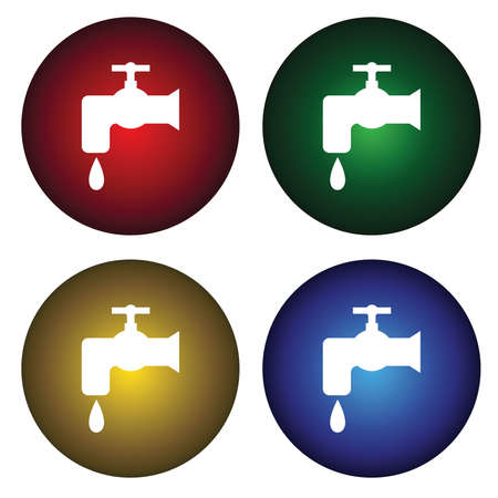 Four buttons with water tap  Vector