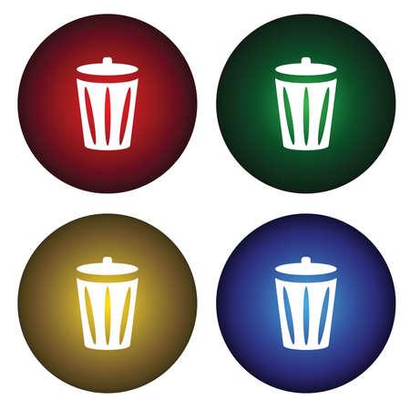 papelera de reciclaje: Cuatro botones con la Papelera de reciclaje