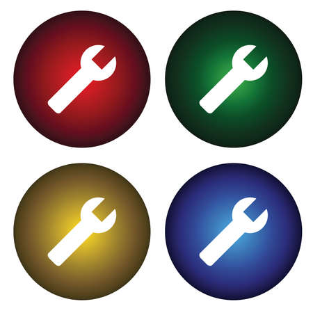 Four buttons with tool Vector