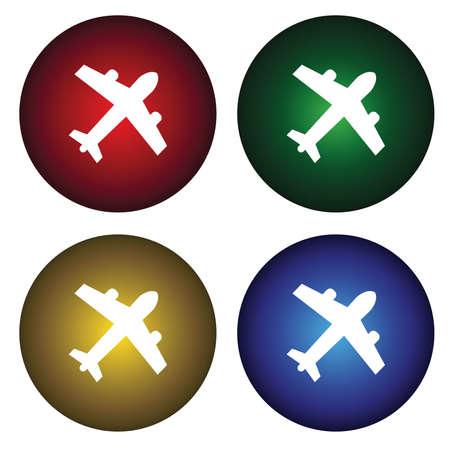 Four buttons with the plane Vector