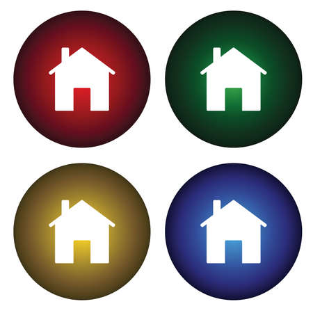 Four buttons with the image of the house Stock Vector - 6369395