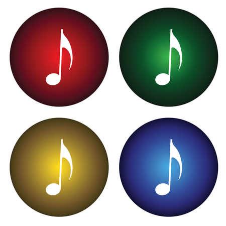 Cuatro botones con notas