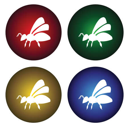 Four buttons with bee Vector
