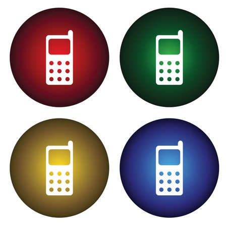 Four buttons with cell phone Vector
