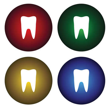 Four buttons with the symbol of the tooth Vector