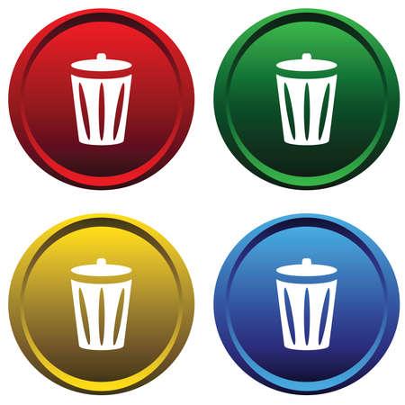 papelera de reciclaje: Botones de pl�stico con la Papelera de reciclaje