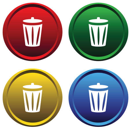Plastic buttons with recycle bin Vector