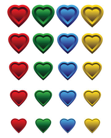 plastik: A set of colorful hearts