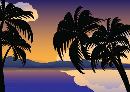 Palm trees over the water Stock Vector - 6703334