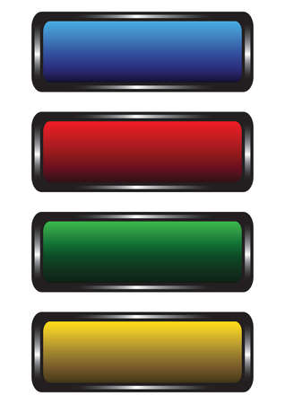 web navigation: Four varicoloured buttons on a white background Illustration