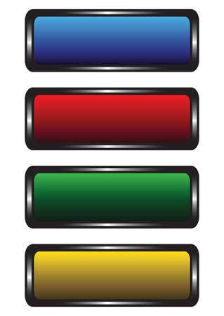 buttons: Quattro pulsanti variegati su uno sfondo bianco  Vettoriali