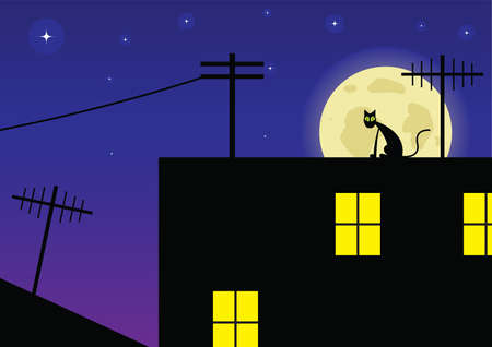 Cat on a roof Vector