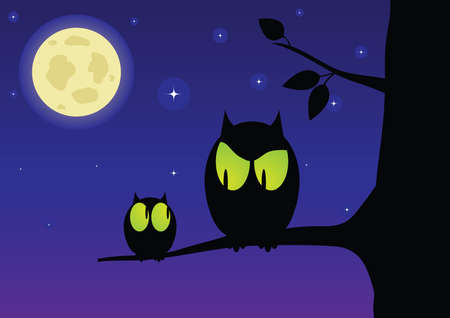 The owl and owlet Vector
