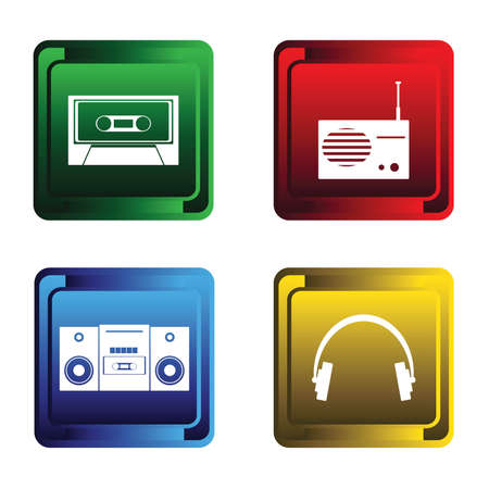 am radio: Four musical buttons Illustration