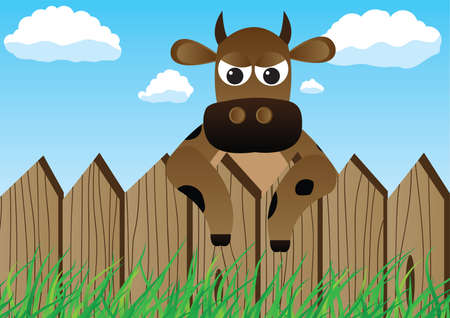 Cow over the fence Stock Vector - 7467346