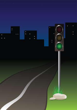 Traffic-light near the road Stock Vector - 7504228