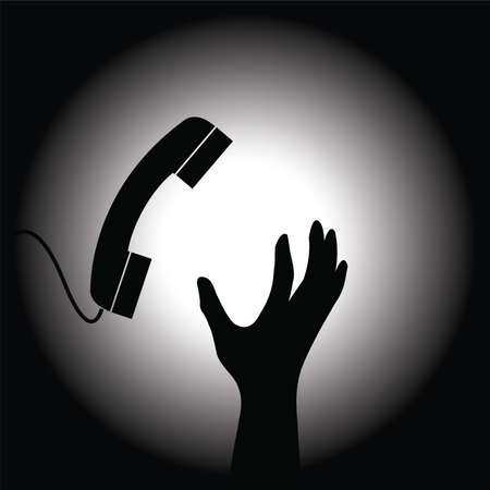 urgently: Conceptual image of the handset and hand Illustration