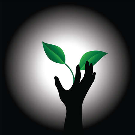 greenpeace: Conceptual image of the plant and hand Illustration
