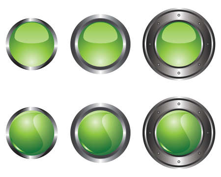 Six green buttons Stock Vector - 8737527