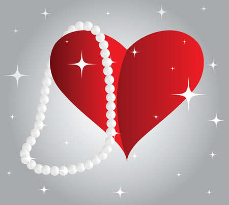 Heart with a pearl necklace Vector