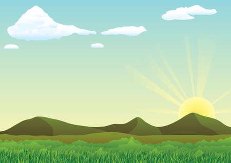 dawn: Beautiful landscape Illustration