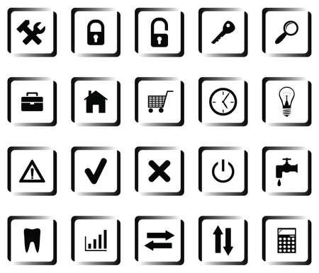 herramientas de plomeria: Un conjunto de botones con s�mbolos Vectores