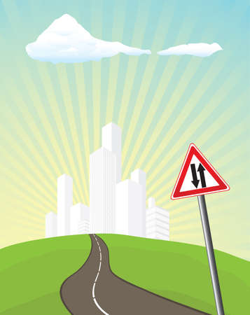 Sign two-way traffic Vector