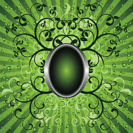 The green background with a medallion Vector