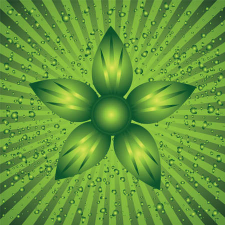 The green background with flower Stock Vector - 9576762