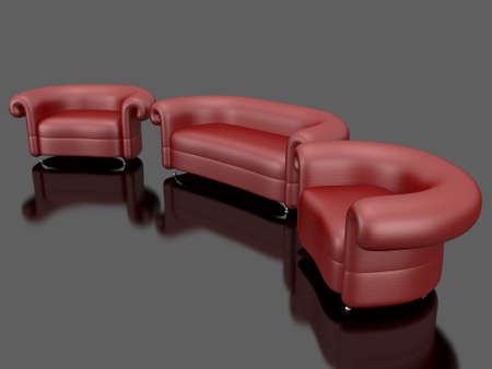 Red leather sofa photo