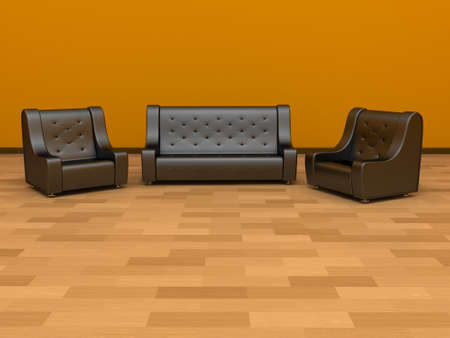 two chairs: Sofa and two chairs Stock Photo