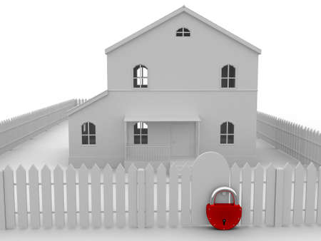 home security: Fence with the big lock